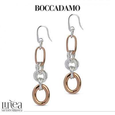 Silver and rose gold intertwined chain earrings