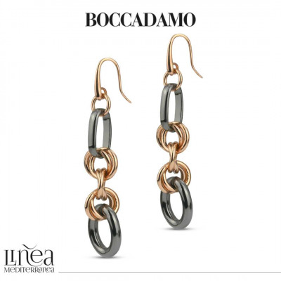 Intertwined chain earrings in pink bronze and ruthenium