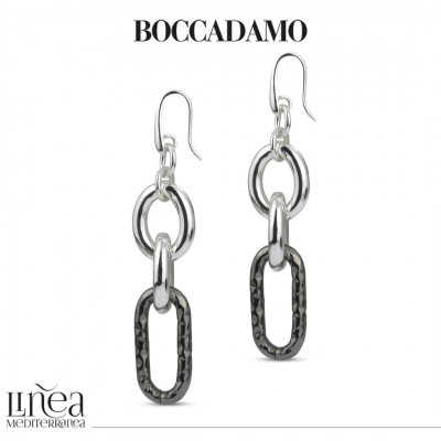 Forced silver and ruthenium chain earrings