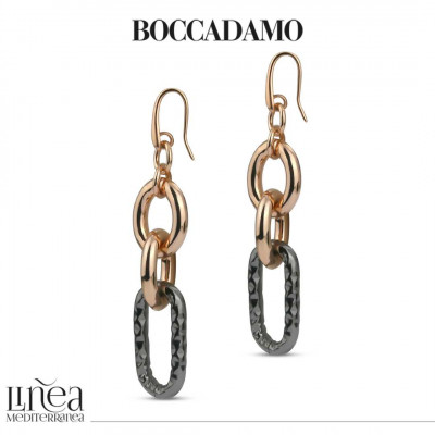 Forced chain earrings in pink bronze and ruthenium