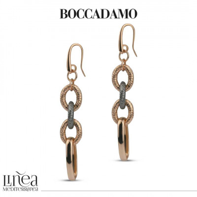Chain earrings in pink bronze and cotroned ruthenium