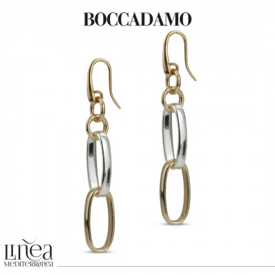 Yellow bronze and silver chain earrings
