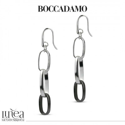 Silver and ruthenium chain pendant earrings