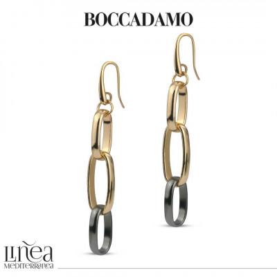 Yellow bronze and ruthenium chain pendant earrings