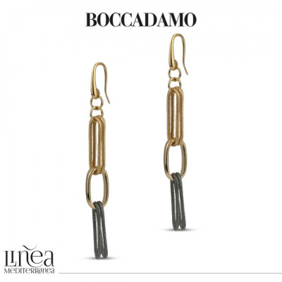 Yellow bronze chain earrings with rope effect ruthenium