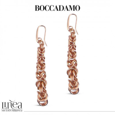 Small Byzantine Link Pink Bronze Earrings