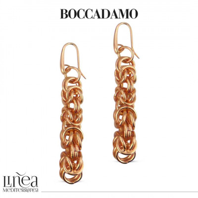 Medium Byzantine Link Pink Bronze Earrings