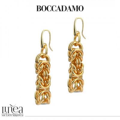 Large yellow bronze Byzantine link earrings