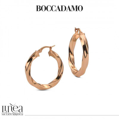 Small torchon earrings in pink bronze