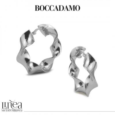 Wide silver torchon earrings