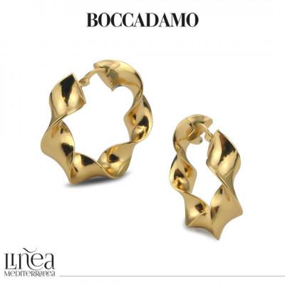 Wide torchon earrings in yellow bronze