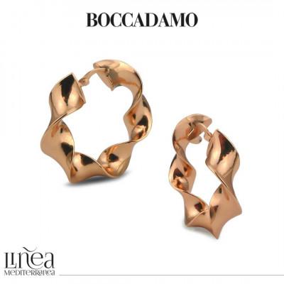 Wide torchon earrings in pink bronze