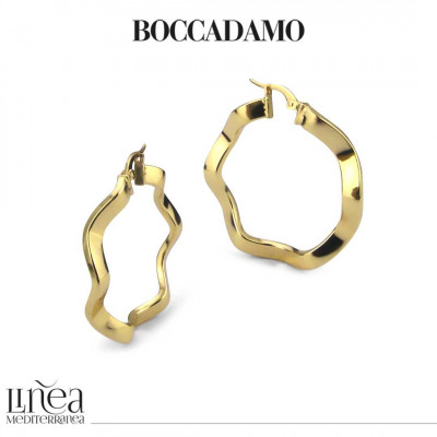 Torchon earrings in yellow bronze