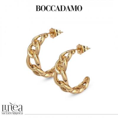 Yellow bronze crescent earrings with grumetta