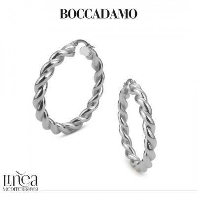 Big circle silver torchon earrings