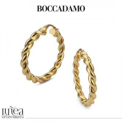 Big circle yellow bronze torchon earrings