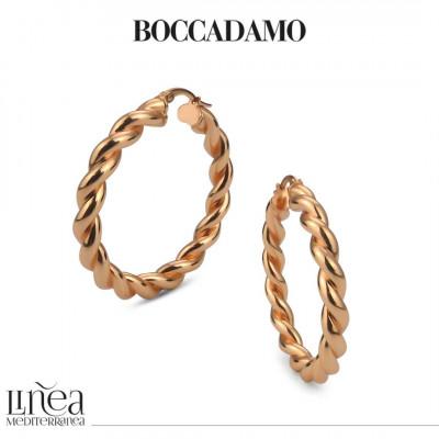 Big circle pink bronze torchon earrings