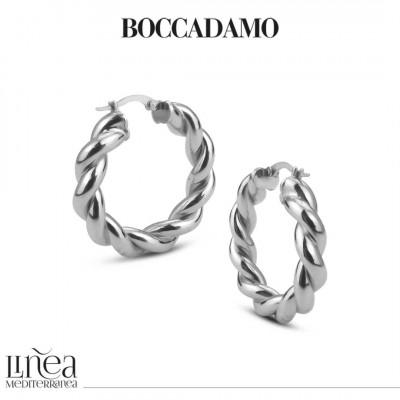 Medium circle silver torchon earrings