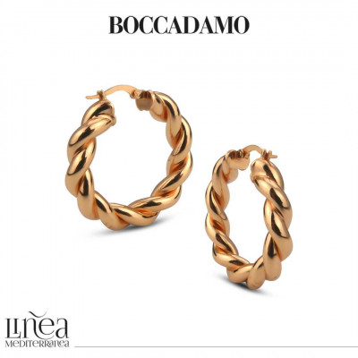 Medium circle pink bronze torchon earrings