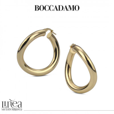 Smooth hoop earrings in yellow bronze