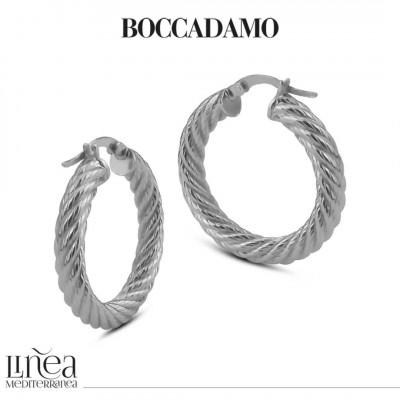 Silvered bronze cotroned hoop earrings