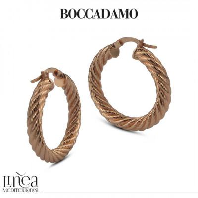 Pink bronze cotroned hoop earrings