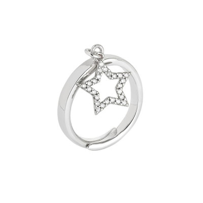 Adjustable ring with pendant with star and zircons