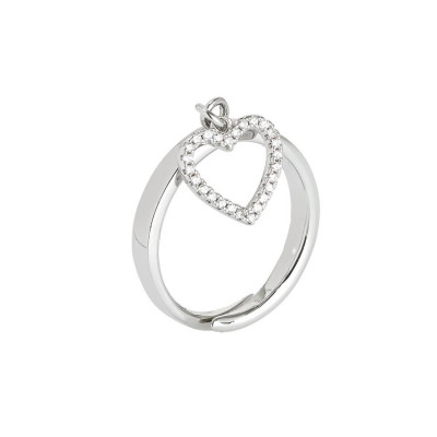 Adjustable ring with pendant with heart and zircons