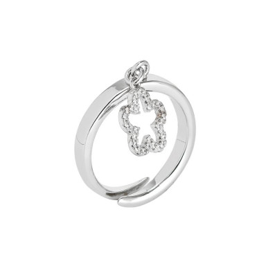 Adjustable ring with pendant with flower and zircons