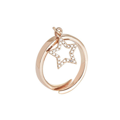 Pink ring adjustable with pendant with star and zircons