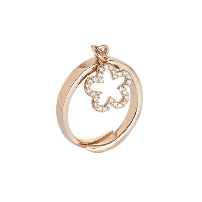Pink ring adjustable with pendant with flower and zircons