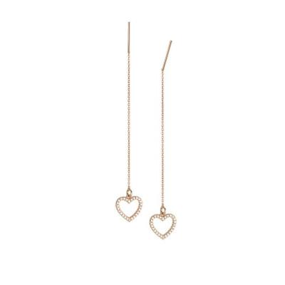 Earrings latch rosati with heart of zircons