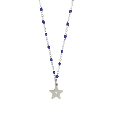 Rhodium-plated necklace with enamelled elements in blue and zircon