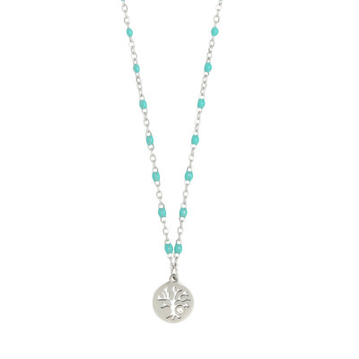 Rhodium-plated necklace with water green and zircon enameled elements