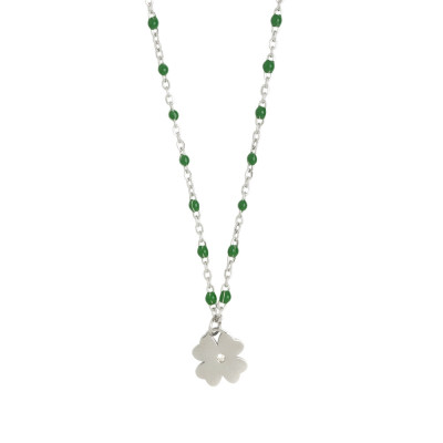 Rhodium-plated necklace with emerald-green enamel and zircon elements