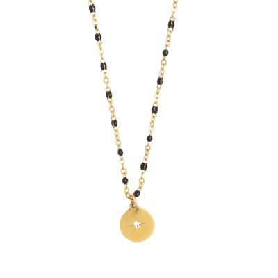 Rosé necklace with black enamel and zircon elements