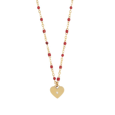 Rosé necklace with red enamel and zircon elements