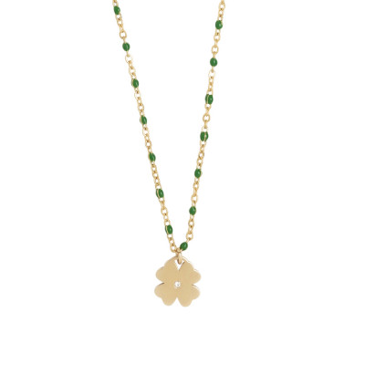 Rosé necklace with emerald green enamel and zircon elements