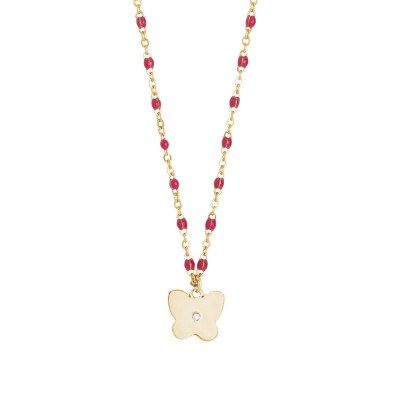 Rosé necklace with enamel fuchsia and zircon elements
