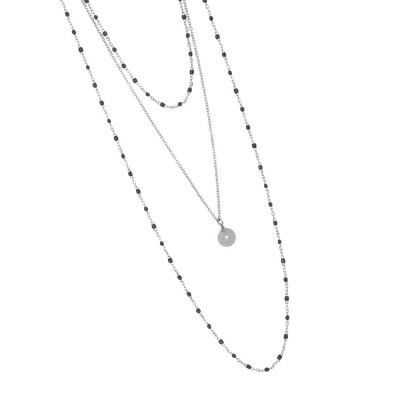 Multi-strand rhodium-plated necklace with black and pendant enamel