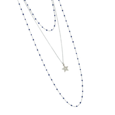 Multi-strand rhodium-plated necklace with blue and pendant enamel