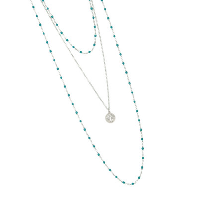 Multi-strand rhodium-plated necklace with water green and pendant enamel