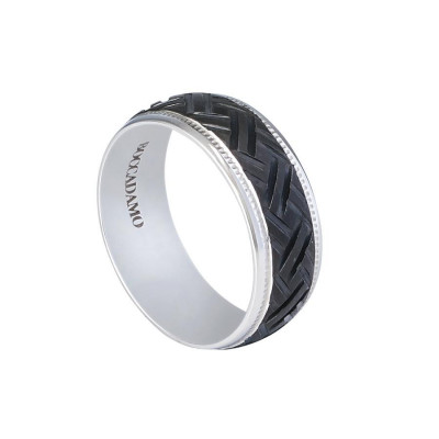 Steel ring with black PVD decorated