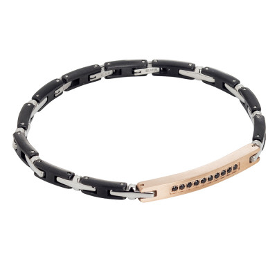 Modular bracelet in rhodium and rosé steel with black zircons