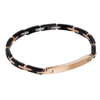 Bracelet in rose gold-plated steel and black pvd