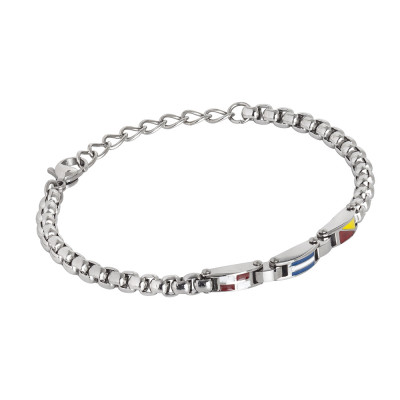 Steel bracelet with enamel central decoration