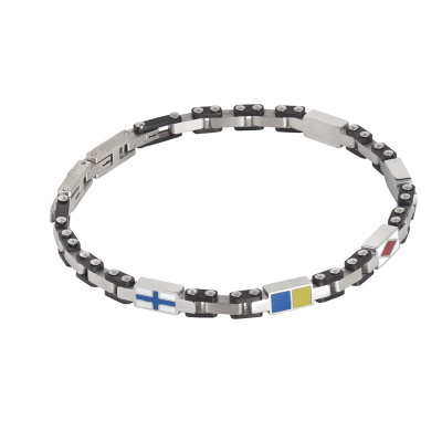 Modular bracelet in steel, black pvd and enamelled sweaters