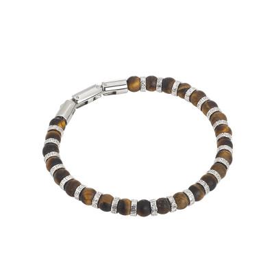 Steel bracelet and tiger's eye