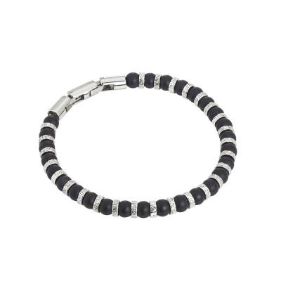 Steel and onyx bracelet