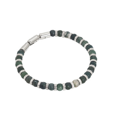 Steel bracelet and musky agate